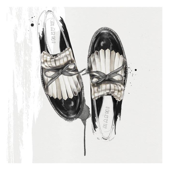 Ilustração de sapato Marni